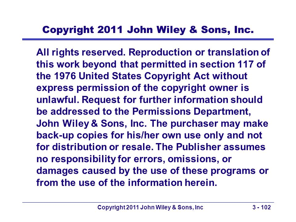 Copyright 2011 John Wiley & Sons, Inc.