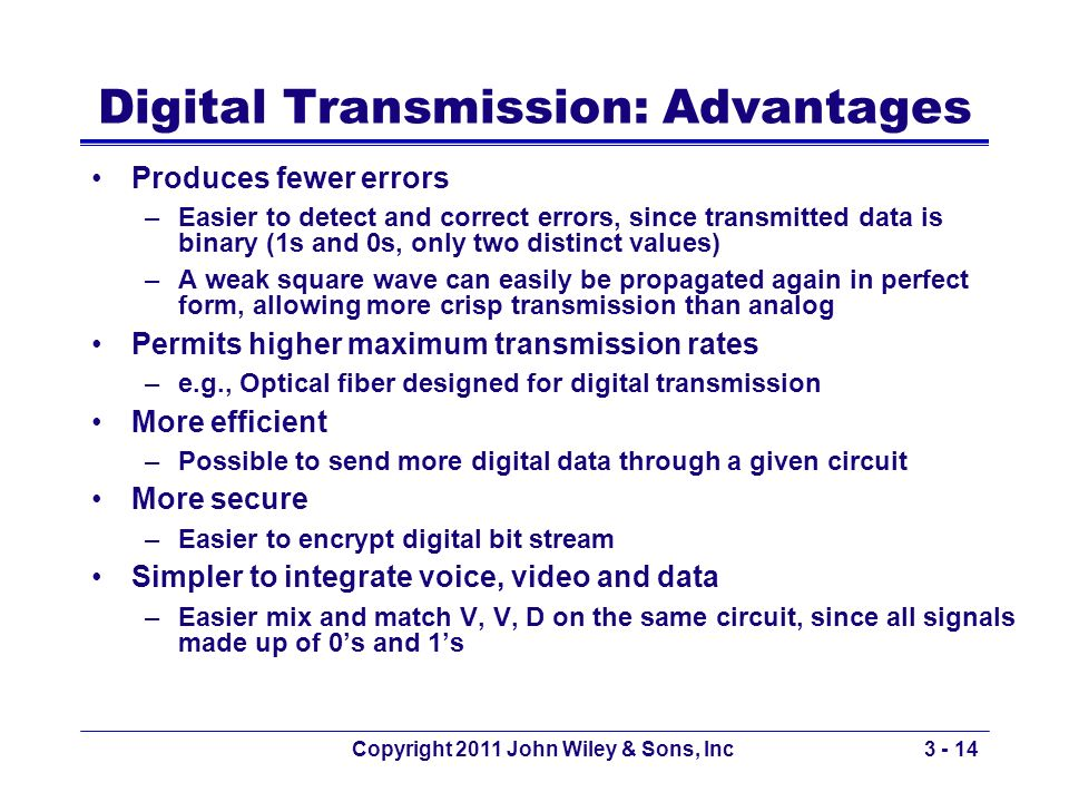 Digital Transmission: Advantages