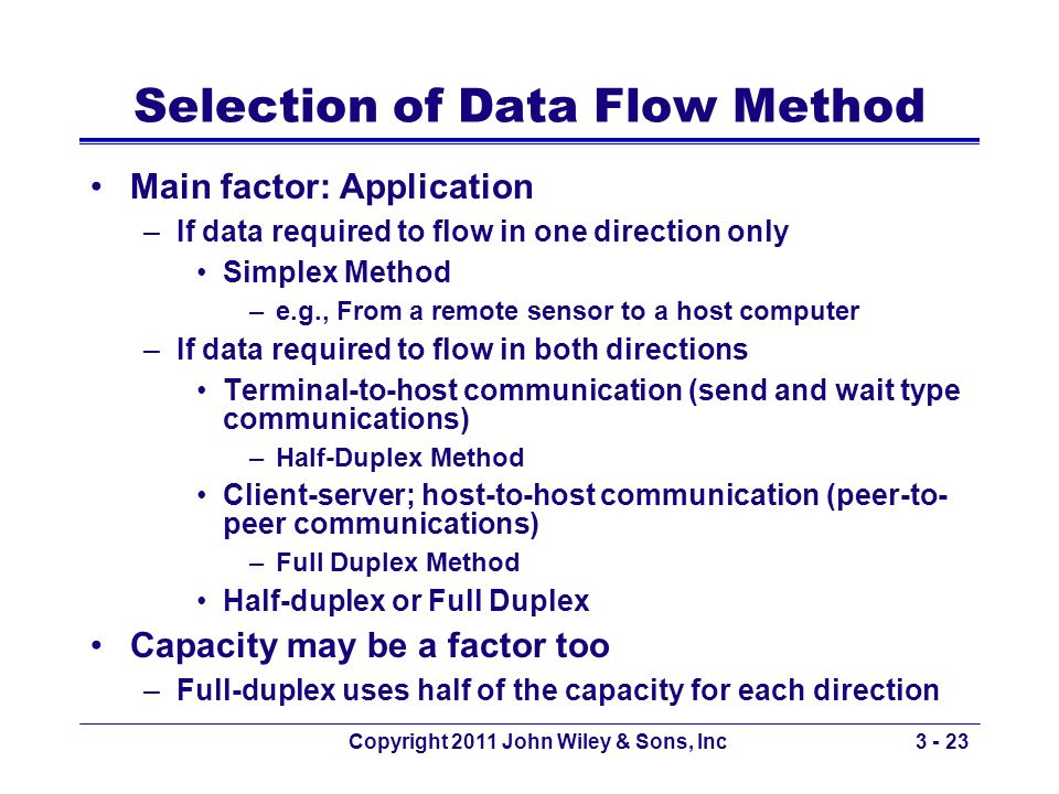 Selection of Data Flow Method