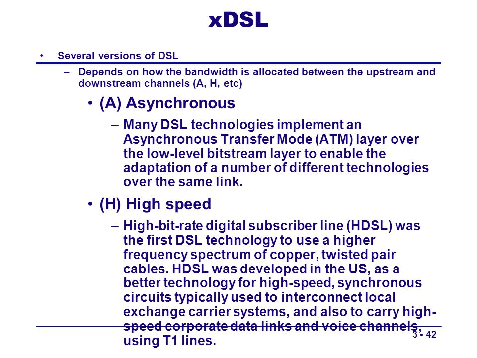xDSL (A) Asynchronous (H) High speed