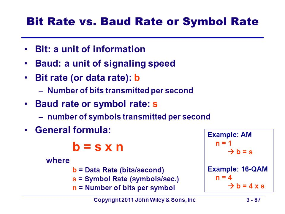 Bit Rate vs. Baud Rate or Symbol Rate