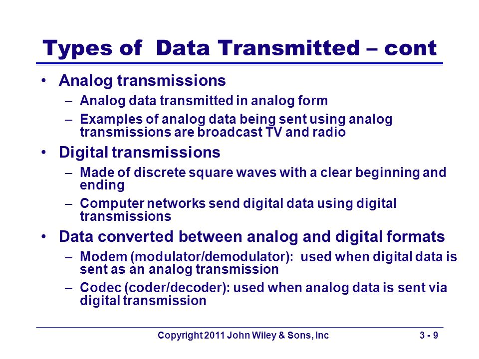 Types of Data Transmitted – cont