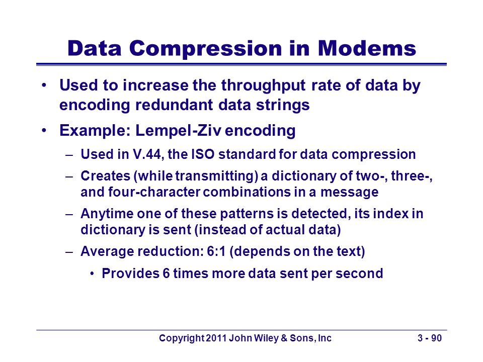Data Compression in Modems
