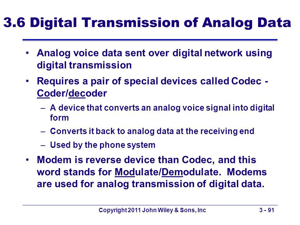 3.6 Digital Transmission of Analog Data