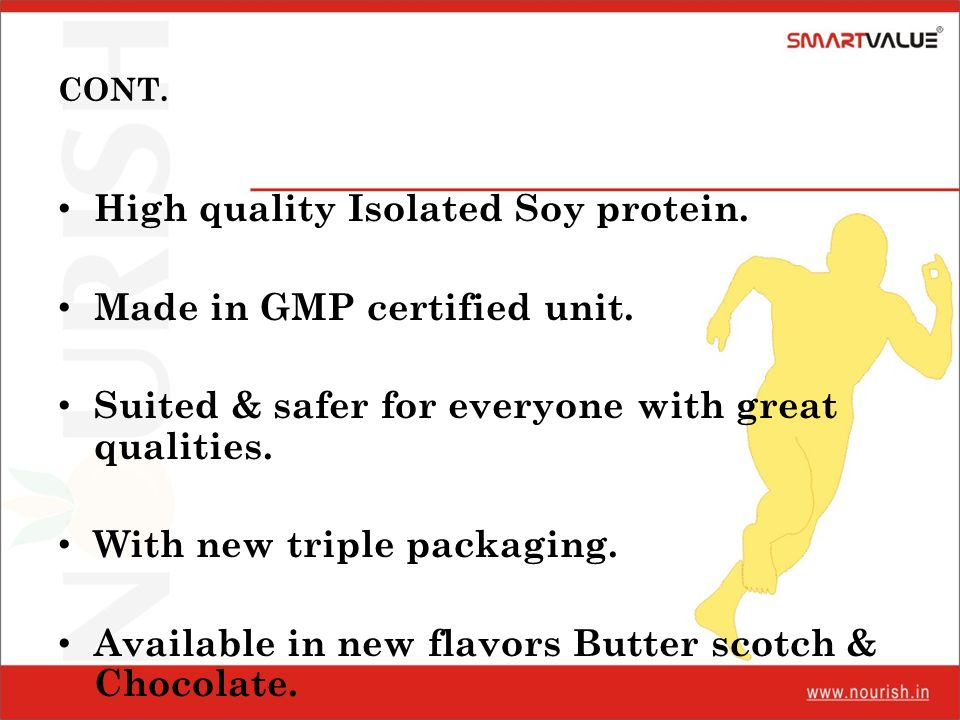 High quality Isolated Soy protein. Made in GMP certified unit.