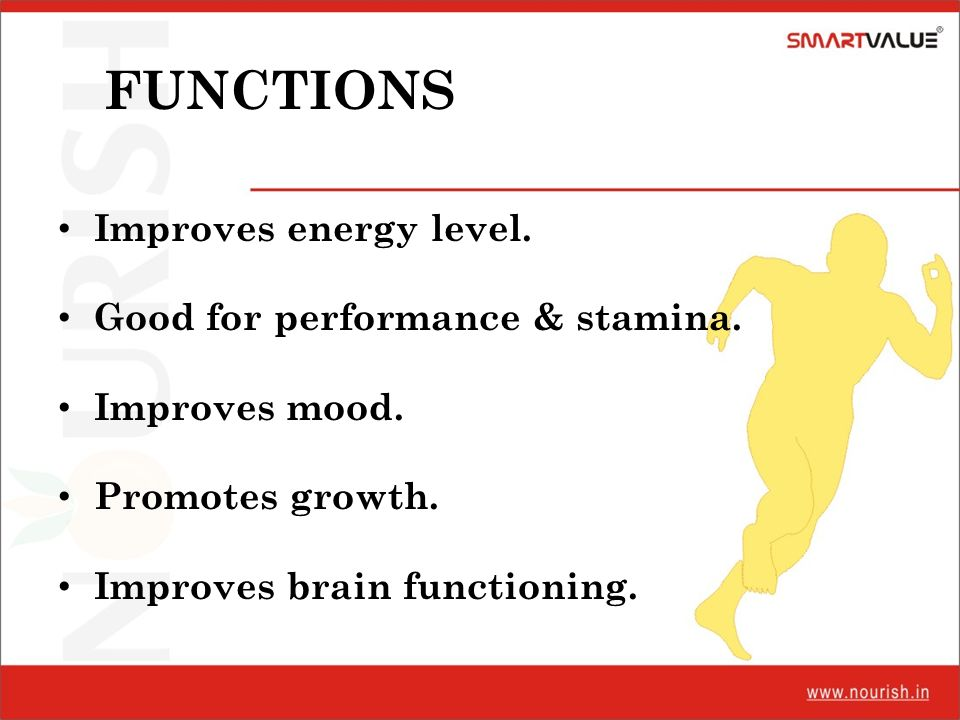 FUNCTIONS Improves energy level. Good for performance & stamina.