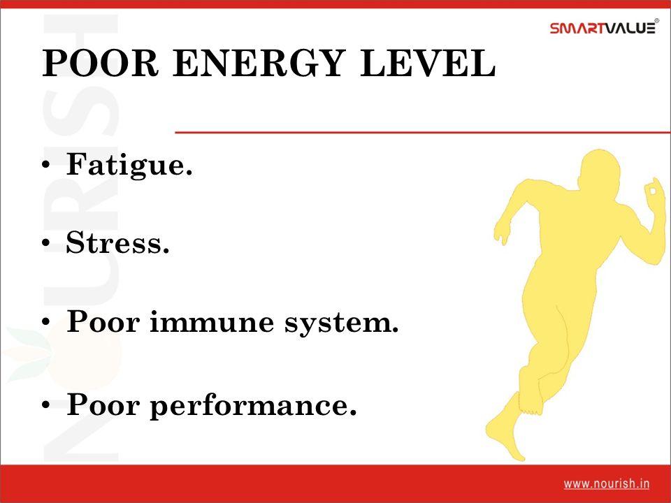 POOR ENERGY LEVEL Fatigue. Stress. Poor immune system.