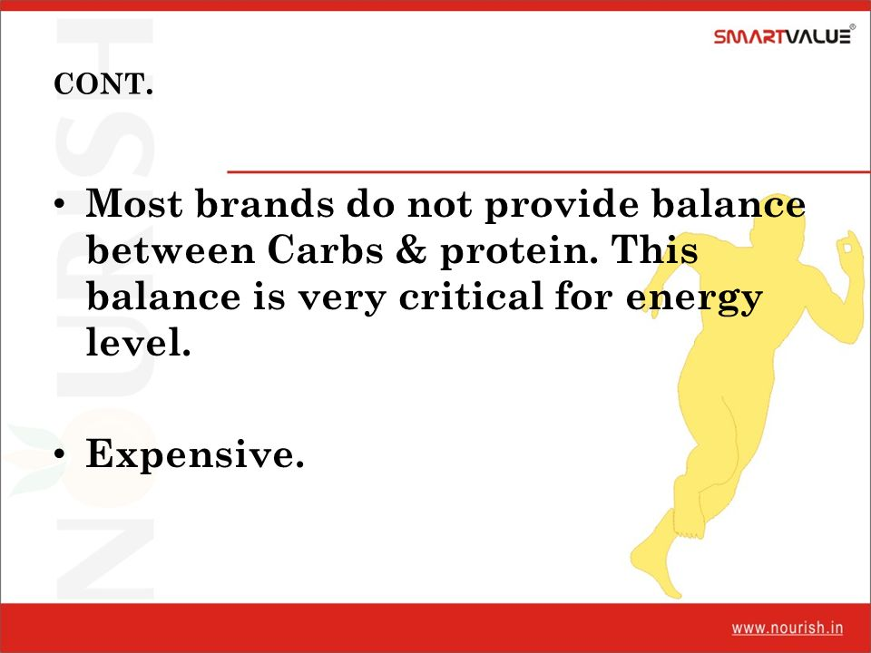 CONT. Most brands do not provide balance between Carbs & protein. This balance is very critical for energy level.