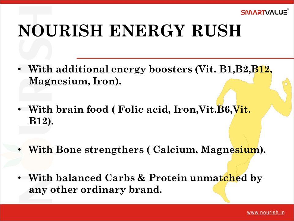NOURISH ENERGY RUSH With additional energy boosters (Vit. B1,B2,B12, Magnesium, Iron). With brain food ( Folic acid, Iron,Vit.B6,Vit. B12).