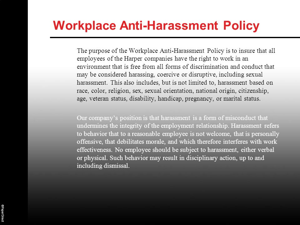Workplace Anti-Harassment Policy