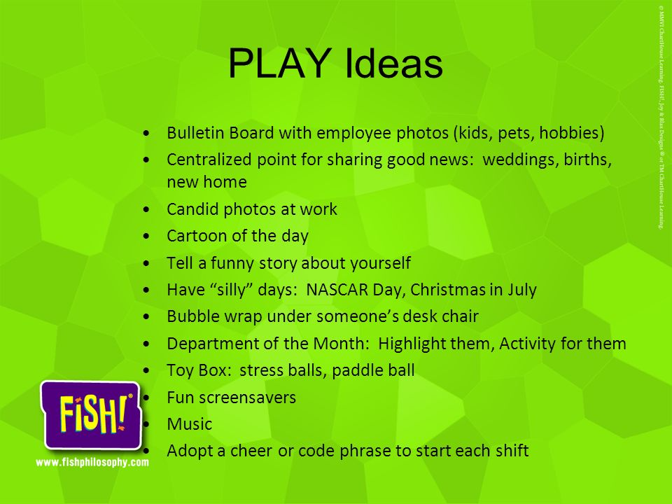 PLAY Ideas Bulletin Board with employee photos (kids, pets, hobbies)