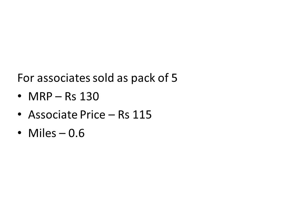 For associates sold as pack of 5