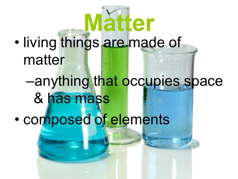 Matter living things are made of matter