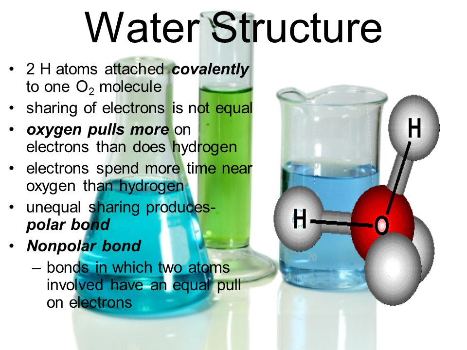 Water Structure 2 H atoms attached covalently to one O2 molecule
