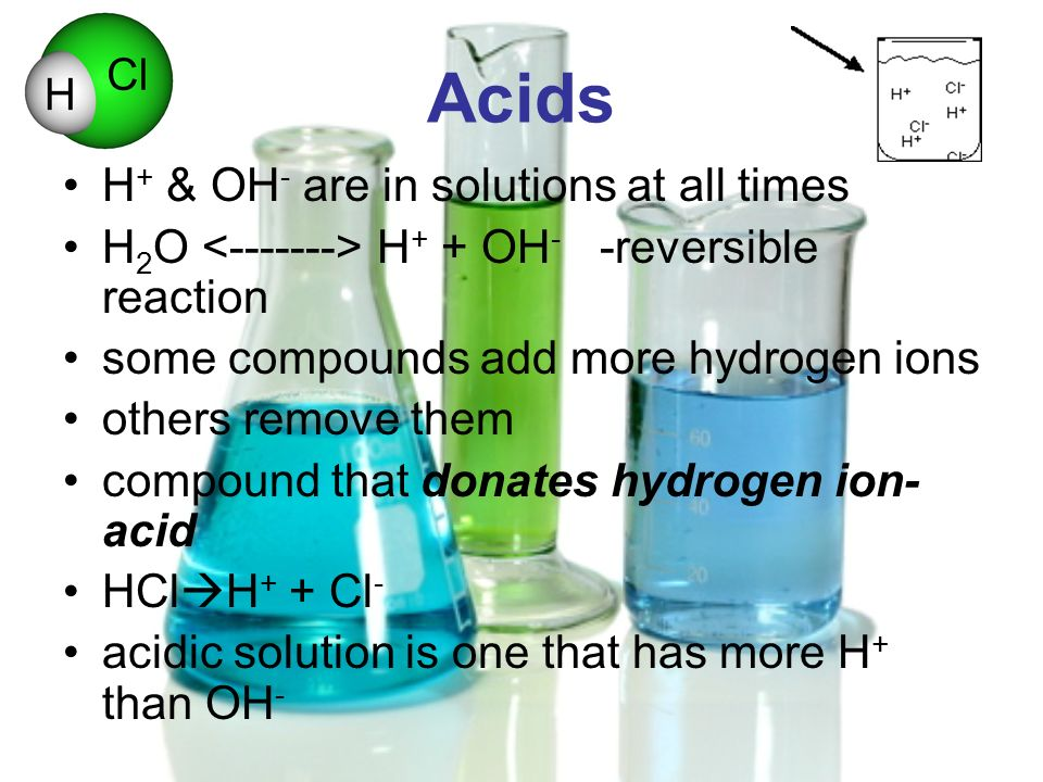 Acids H+ & OH- are in solutions at all times
