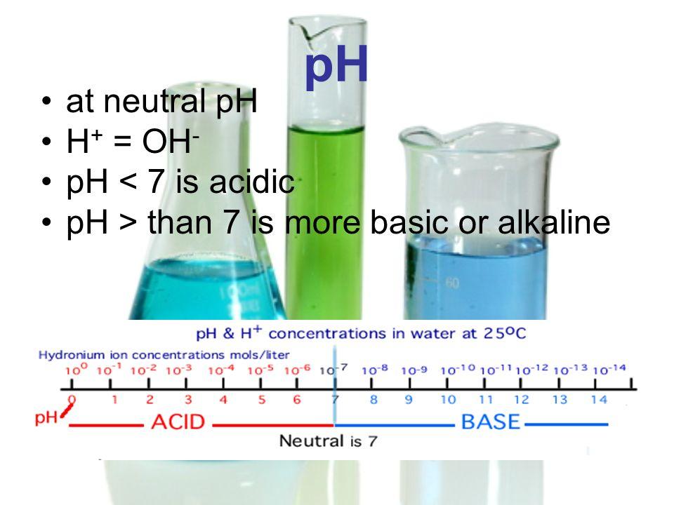 pH at neutral pH H+ = OH- pH < 7 is acidic