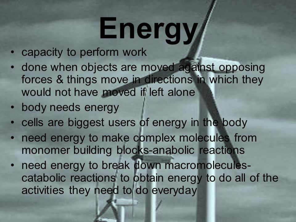 Energy capacity to perform work