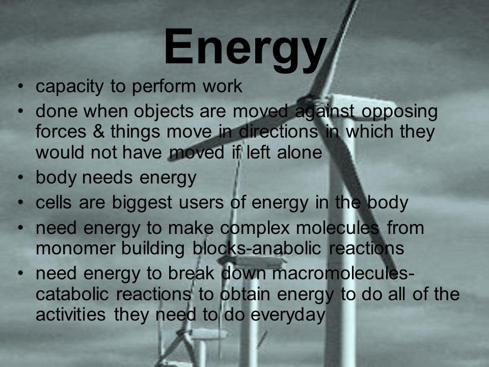 Energy capacity to perform work