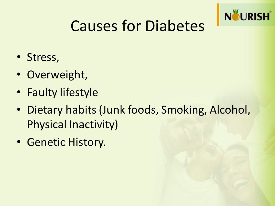 Causes for Diabetes Stress, Overweight, Faulty lifestyle