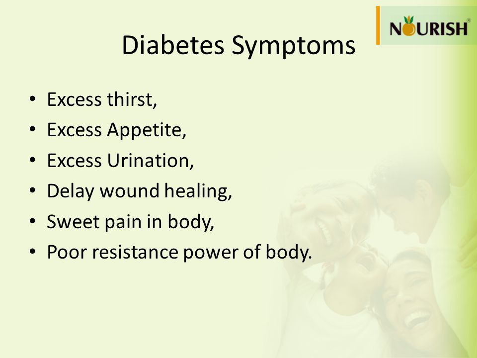 Diabetes Symptoms Excess thirst, Excess Appetite, Excess Urination,