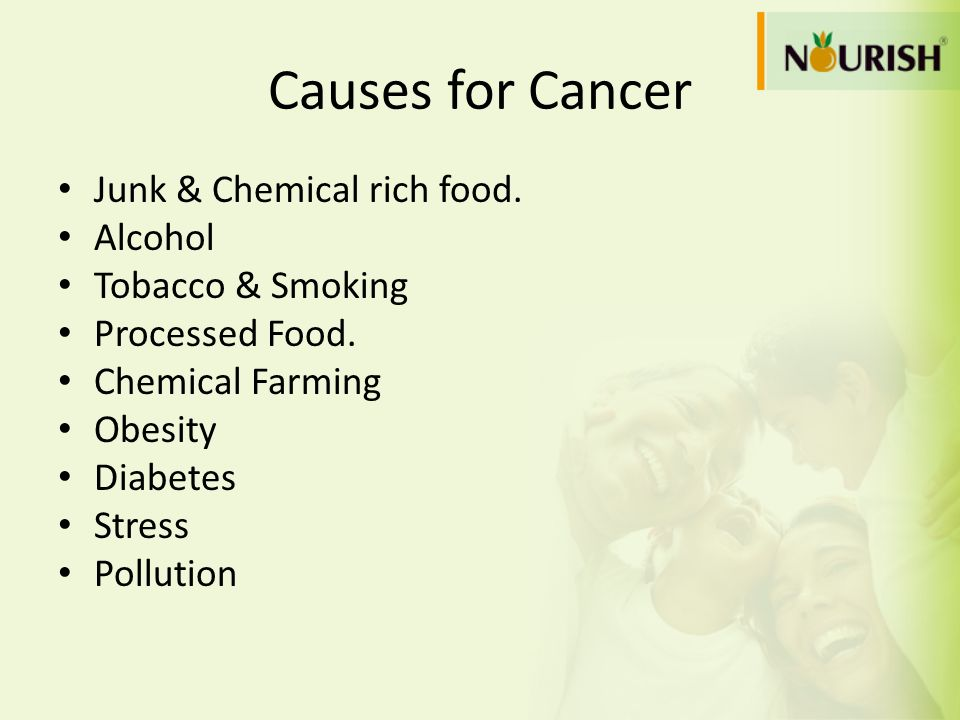 Causes for Cancer Junk & Chemical rich food. Alcohol Tobacco & Smoking