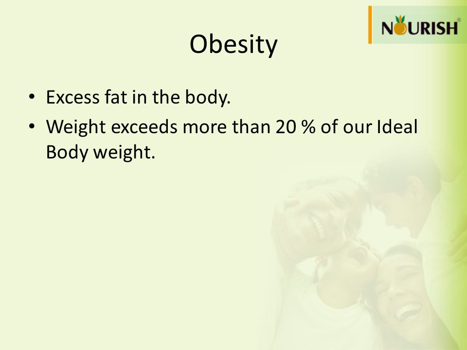 Obesity Excess fat in the body.