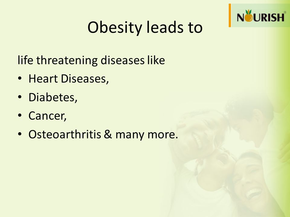 Obesity leads to life threatening diseases like Heart Diseases,