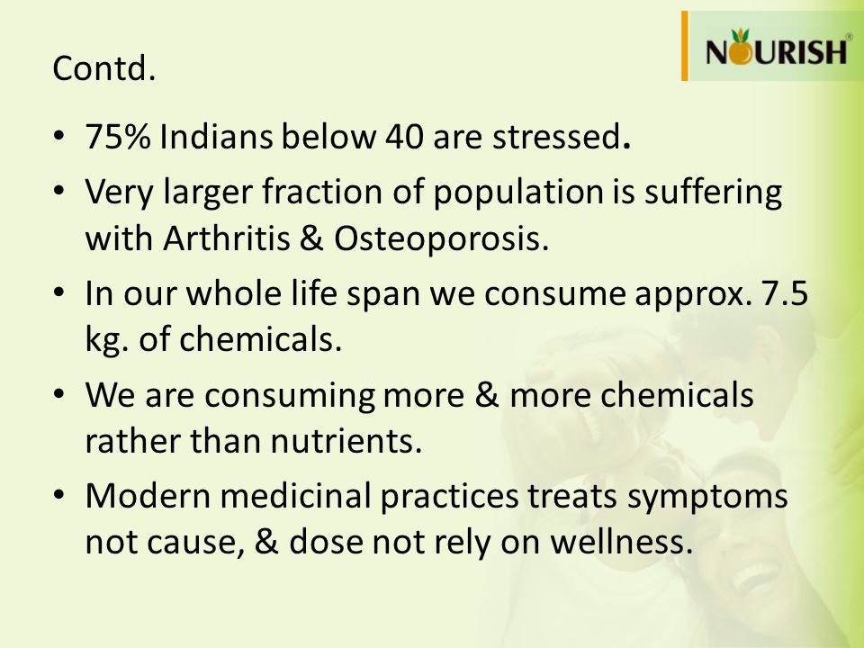 Contd. 75% Indians below 40 are stressed. Very larger fraction of population is suffering with Arthritis & Osteoporosis.