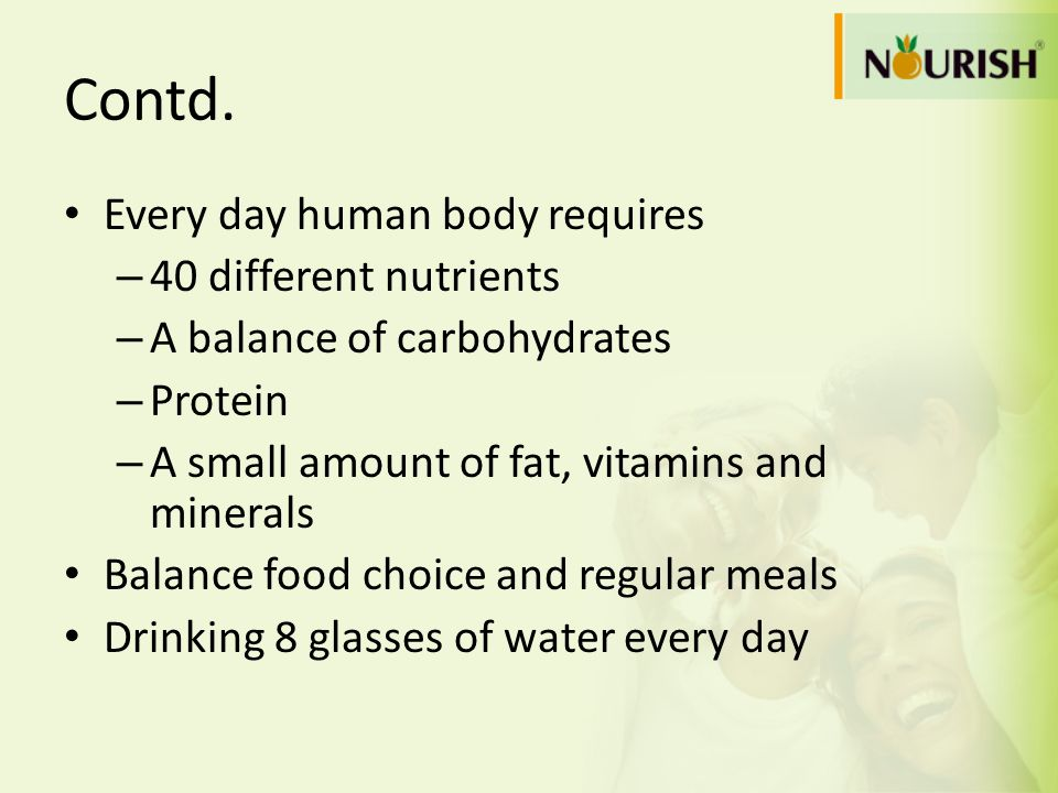 Contd. Every day human body requires 40 different nutrients