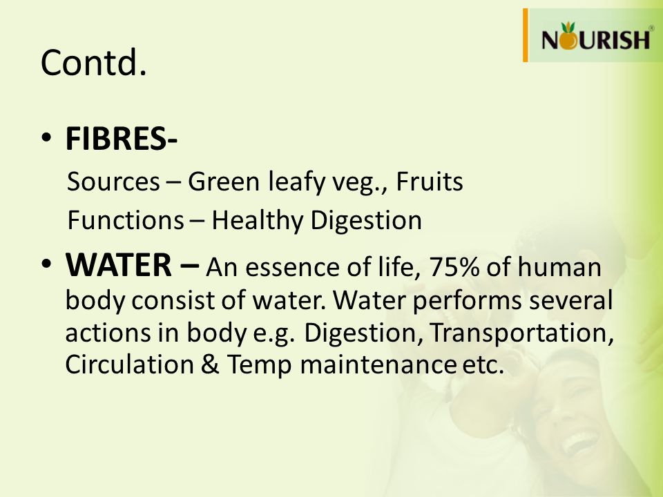 Contd. FIBRES- Sources – Green leafy veg., Fruits. Functions – Healthy Digestion.