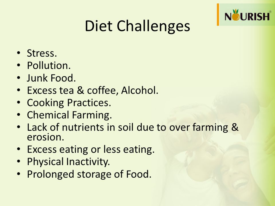 Diet Challenges Stress. Pollution. Junk Food.