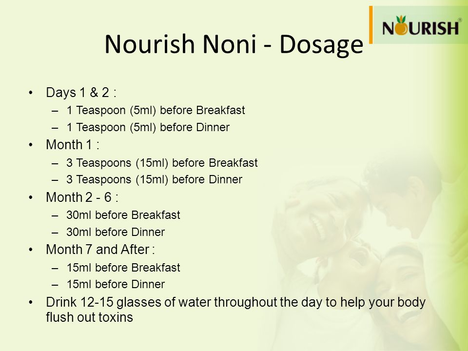 Nourish Noni - Dosage Days 1 & 2 : Month 1 : Month 2 - 6 :