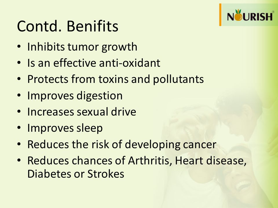 Contd. Benifits Inhibits tumor growth Is an effective anti-oxidant