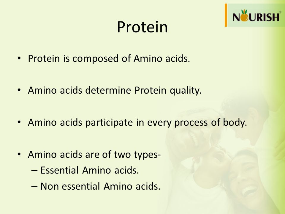 Protein Protein is composed of Amino acids.