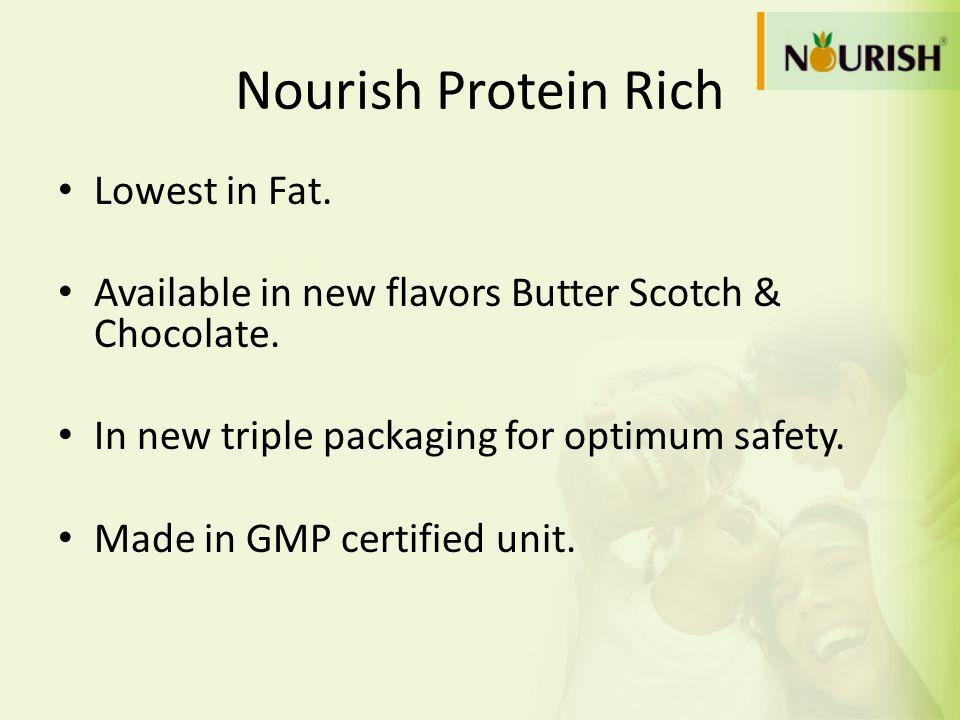 Nourish Protein Rich Lowest in Fat.