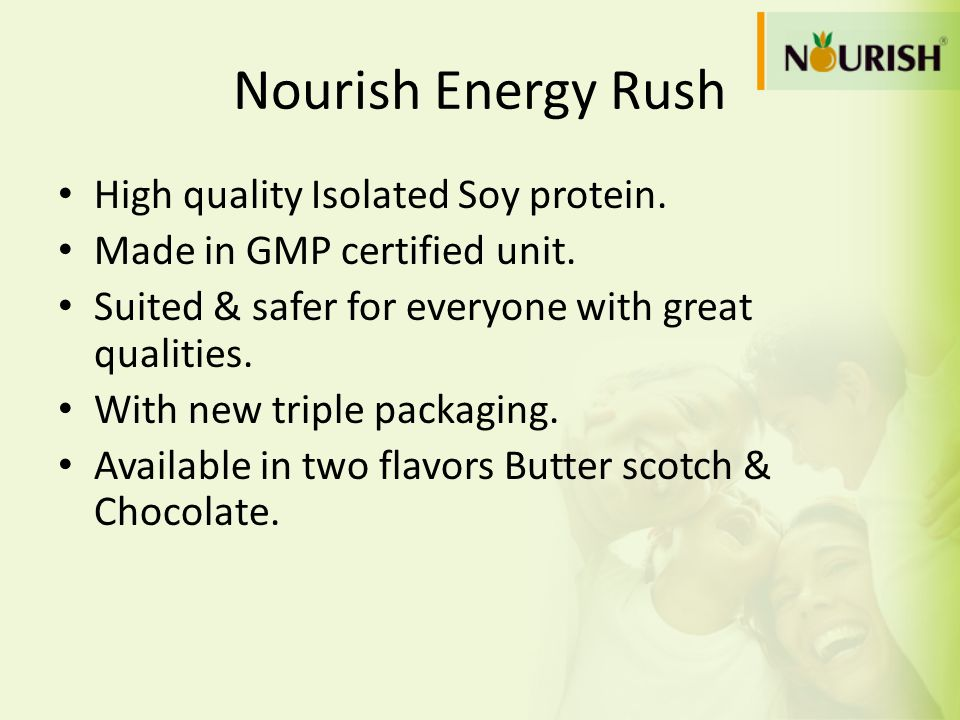 Nourish Energy Rush High quality Isolated Soy protein.