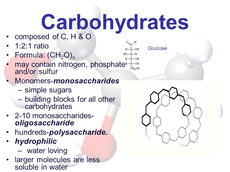 Carbohydrates composed of C, H & O 1:2:1 ratio Formula: (CH2O)n