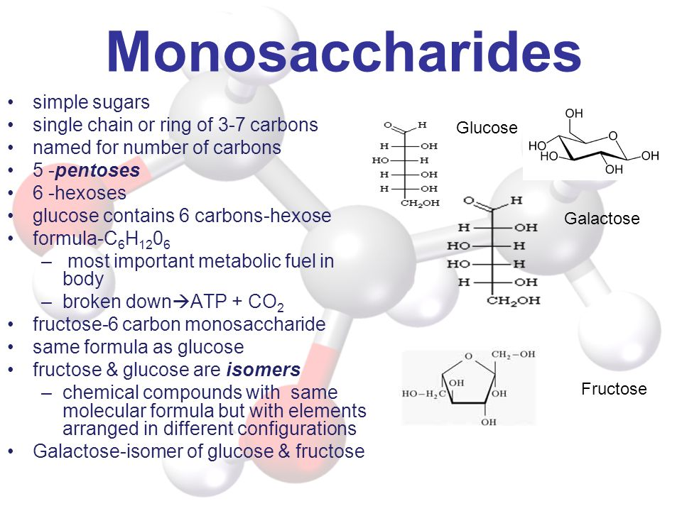 Monosaccharides simple sugars single chain or ring of 3-7 carbons