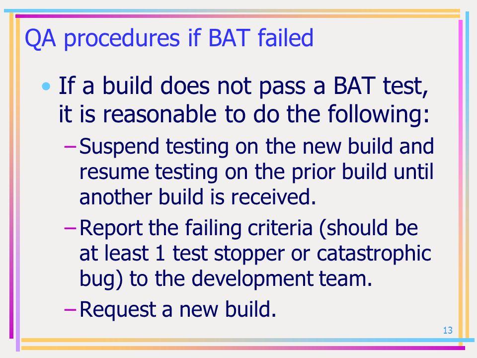 QA procedures if BAT failed