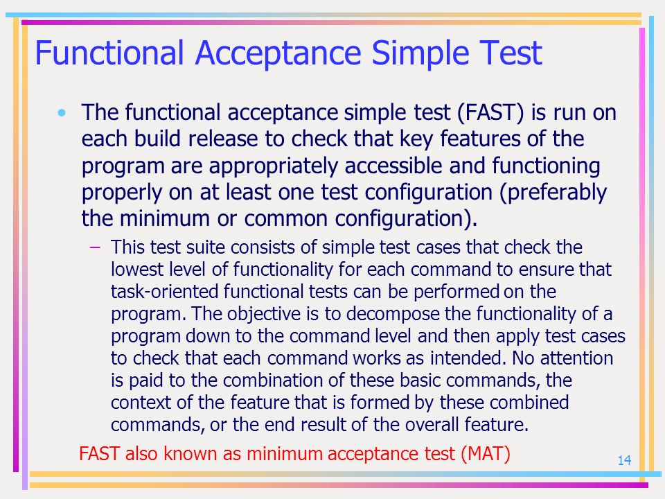 Functional Acceptance Simple Test