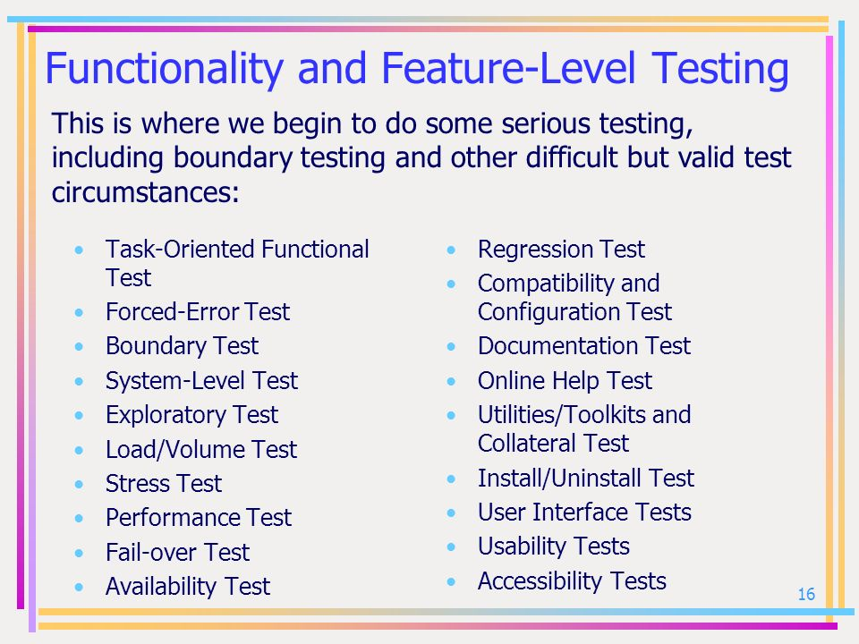 Functionality and Feature-Level Testing