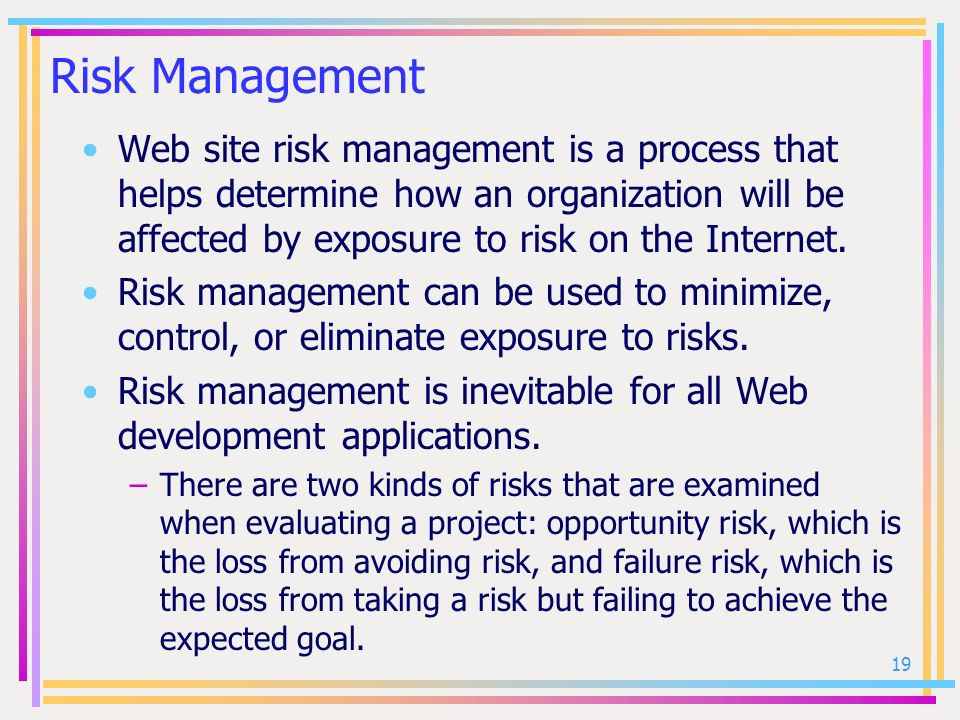 Risk Management Web site risk management is a process that helps determine how an organization will be affected by exposure to risk on the Internet.
