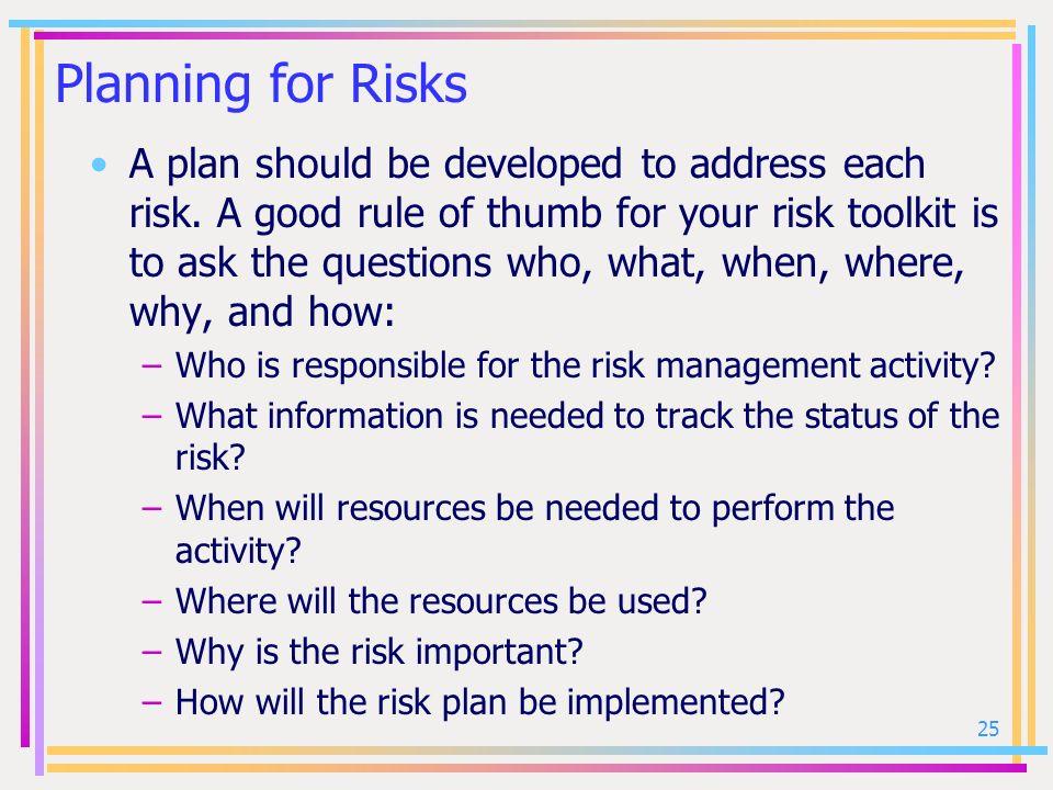Planning for Risks