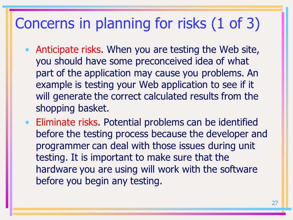 Concerns in planning for risks (1 of 3)