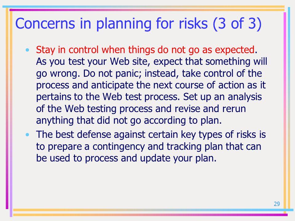 Concerns in planning for risks (3 of 3)