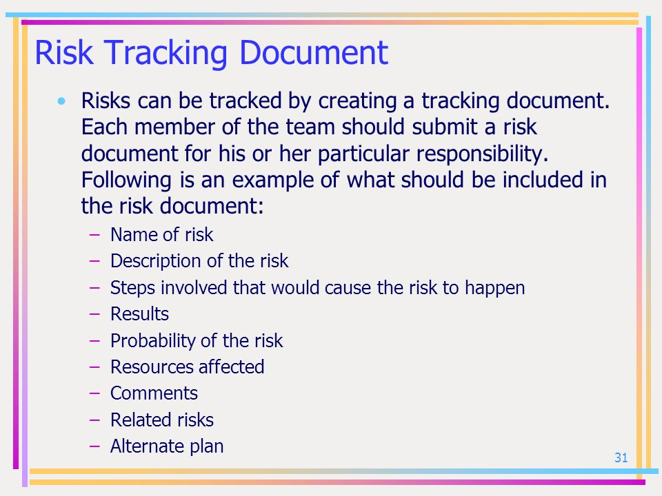 Risk Tracking Document