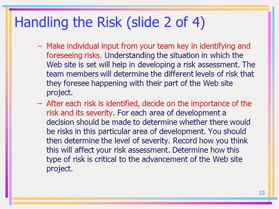 Handling the Risk (slide 2 of 4)