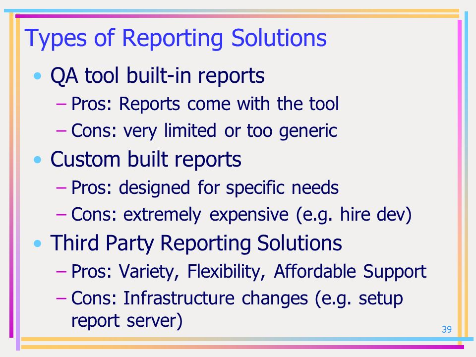 Types of Reporting Solutions
