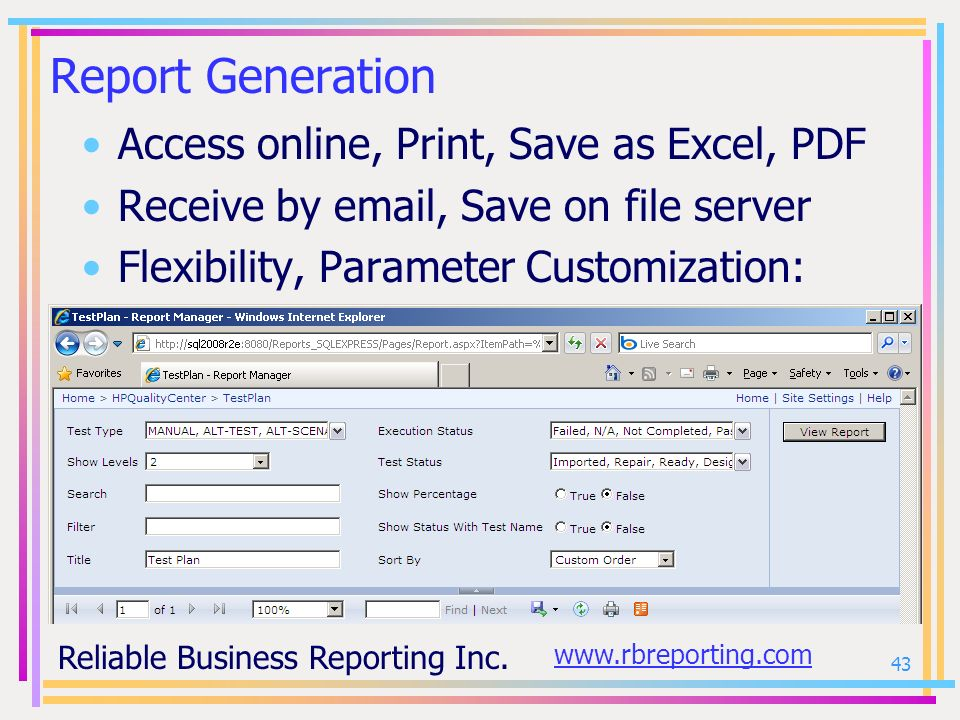Report Generation Access online, Print, Save as Excel, PDF