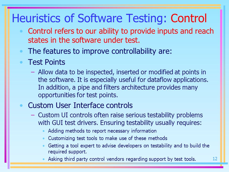 Heuristics of Software Testing: Control